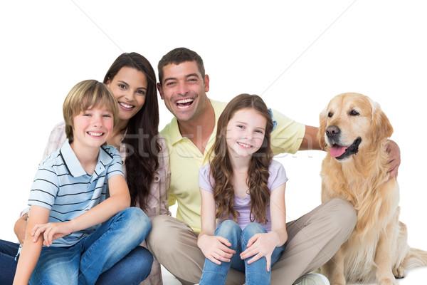 Aile golden retriever beyaz portre mutlu aile kadın Stok fotoğraf © wavebreak_media