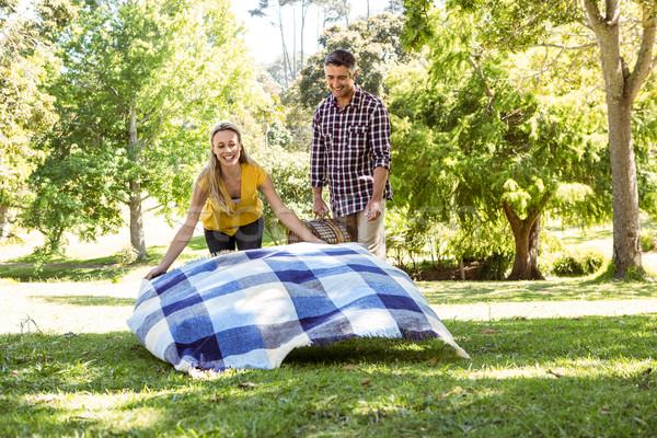 Stockfoto: Paar · picknick · park · vrouw · voorjaar