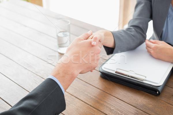 Kobieta interesu drżenie rąk biznesmen biuro kobieta wody Zdjęcia stock © wavebreak_media