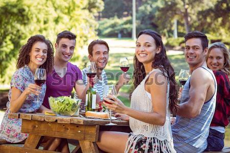Heureux amis parc barbecue femme Photo stock © wavebreak_media