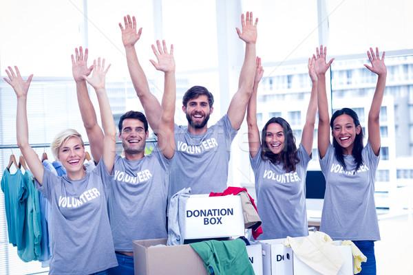 önkéntesek kezek boldog barátok férfi doboz Stock fotó © wavebreak_media