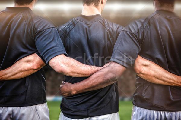 összetett kép rögbi szurkolók aréna játékosok Stock fotó © wavebreak_media