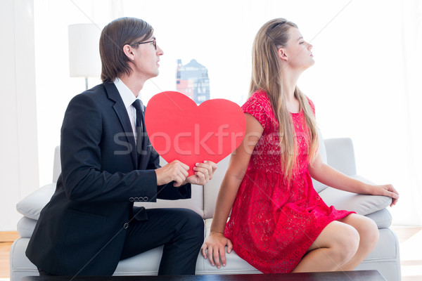 Cute geeky couple with red heart shape  Stock photo © wavebreak_media