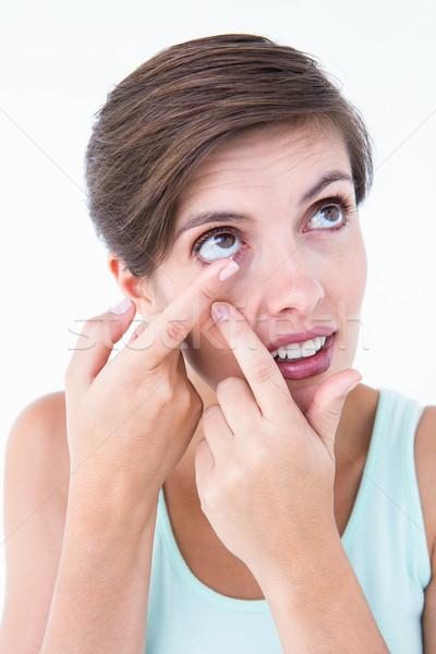 きれいな女性 適用 コンタクトレンズ 白 皮膚 女性 ストックフォト © wavebreak_media