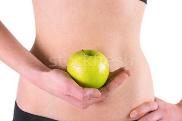 Foto stock: Mulher · verde · maçã · branco · fruto