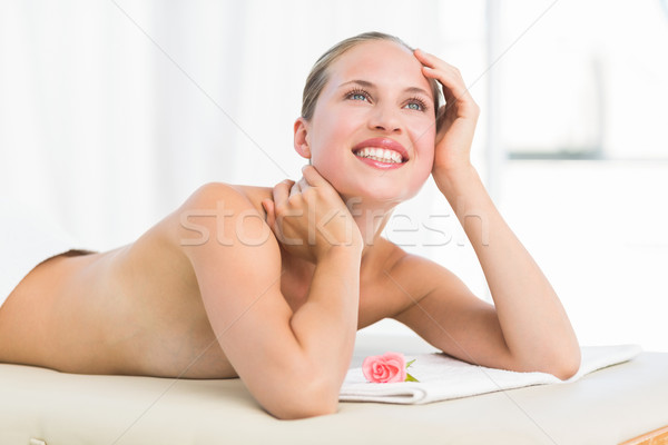 Békés szőke nő törölköző mosolyog gyógyfürdő boldog Stock fotó © wavebreak_media
