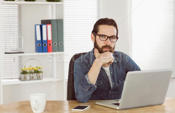 Stockfoto: Zakenman · werken · laptop · kantoor · computer