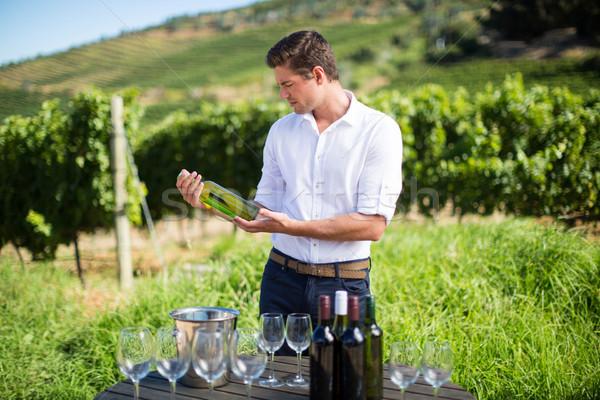 человека бутылку вина таблице виноградник молодым человеком Сток-фото © wavebreak_media