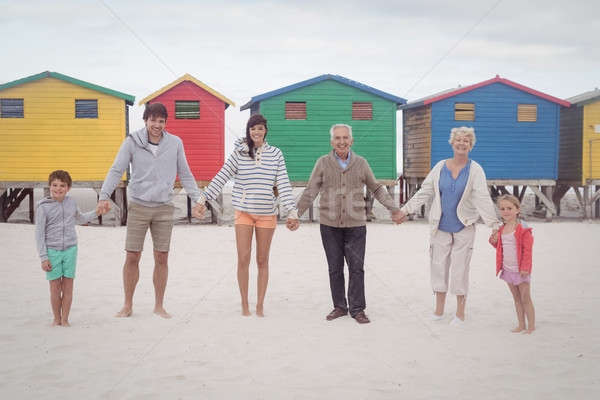 Portrait of multi-generation family holding hands at beach Stock photo © wavebreak_media