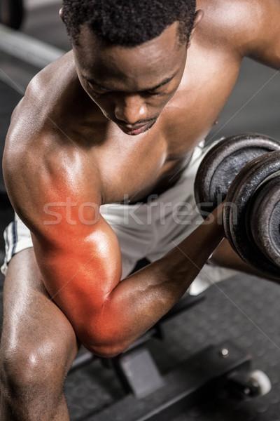 Dévoué torse nu Homme athlète haltères gymnase Photo stock © wavebreak_media