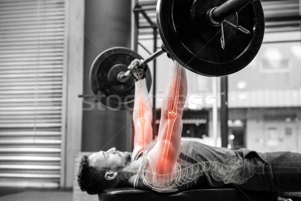 Side view of sportsman athlete exercising at gym Stock photo © wavebreak_media