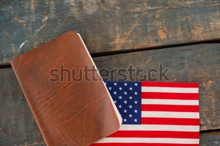 Visum Amerikaanse vlag houten tafel veiligheid Blauw Stockfoto © wavebreak_media
