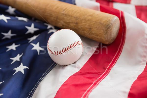 Bate de béisbol pelota bandera de Estados Unidos primer plano deporte azul Foto stock © wavebreak_media