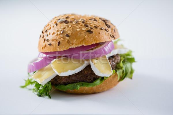 Burger twaróg tabeli liści chleba Zdjęcia stock © wavebreak_media