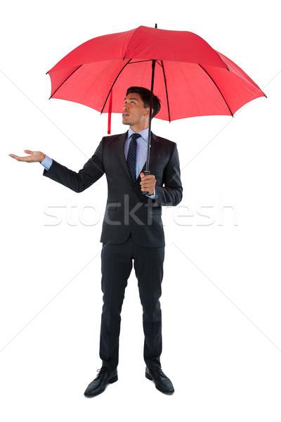 Imprenditore ombrello piedi bianco Foto d'archivio © wavebreak_media