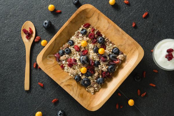 Tányér reggeli gabonapehely joghurt fekete fitnessz ital Stock fotó © wavebreak_media