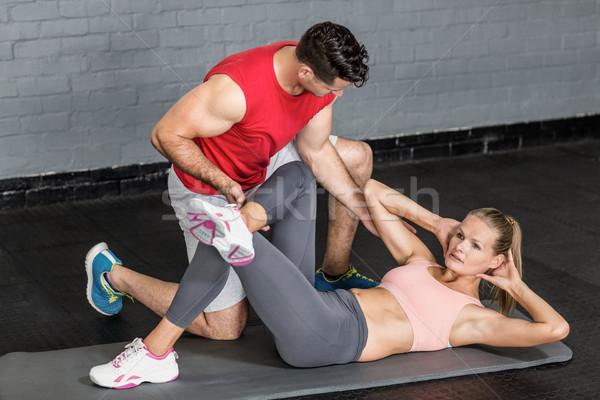 Kas çift karın crossfit spor salonu kadın Stok fotoğraf © wavebreak_media
