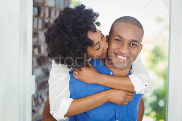 Yakışıklı adam geri kız arkadaş dışarı ev Stok fotoğraf © wavebreak_media