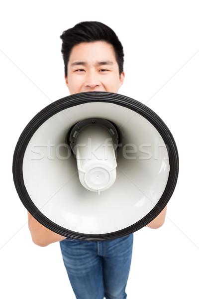 Fiatalember kiált duda hangfal fehér hangszóró Stock fotó © wavebreak_media