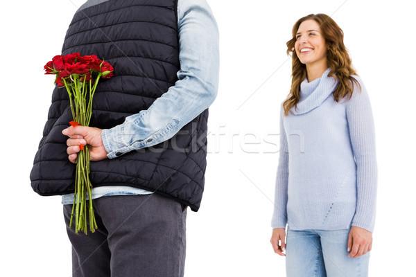 Férfi rejtőzködik rózsa mögött hát nő Stock fotó © wavebreak_media