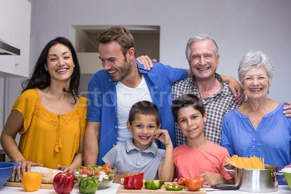 幸せな家族 キッチン 肖像 立って ホーム 女性 ストックフォト © wavebreak_media