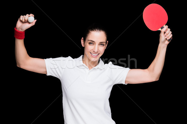 Feminino atleta jogar ping-pong preto mulher Foto stock © wavebreak_media