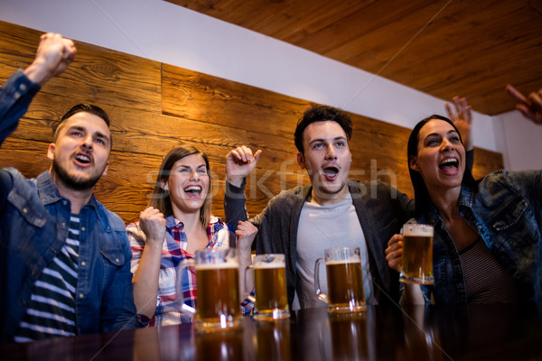Friends enjoying with beer mugs in restaurant Stock photo © wavebreak_media