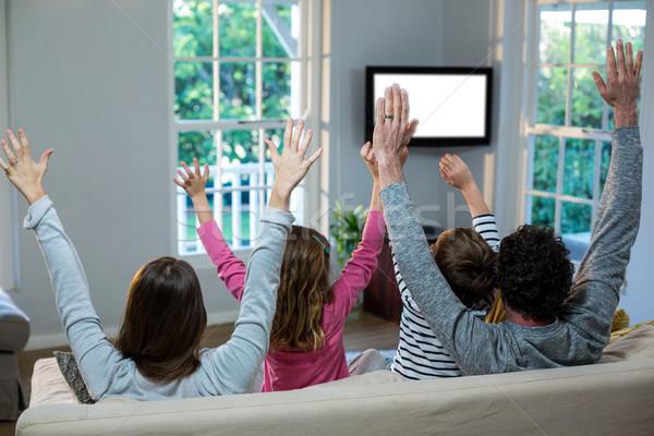 Család kezek tv nézés otthon lány férfi Stock fotó © wavebreak_media