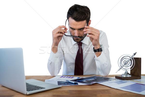 Geschäftsmann tragen Schauspiel arbeiten Büro weiß Stock foto © wavebreak_media
