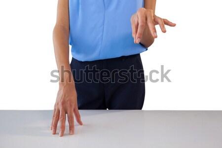 Középső rész üzletasszony áll asztal fehér üzlet Stock fotó © wavebreak_media