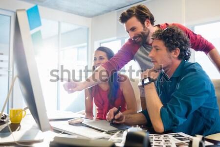 Takım grafik bilgisayar ofis adam Stok fotoğraf © wavebreak_media