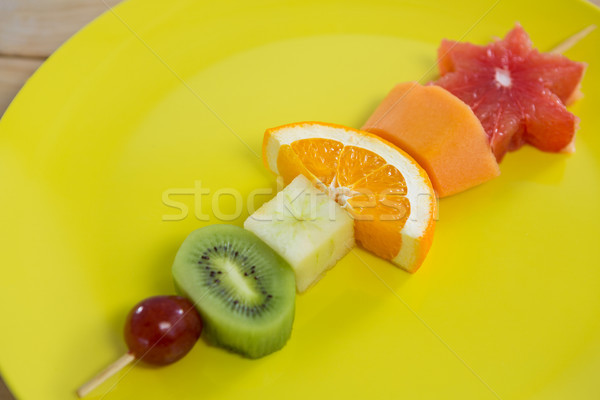 Stock photo: Close-up of fruit skewers in plate