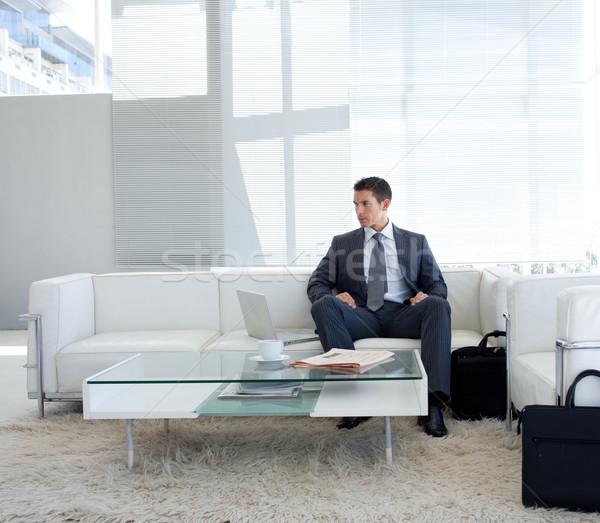 ビジネスマン 座って 待合室 ラップトップを使用して ビジネス ファッション ストックフォト © wavebreak_media