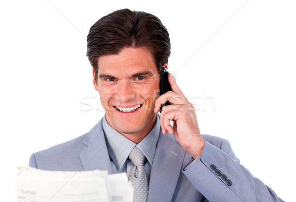 Tolakodó üzletember telefon tart újság izolált Stock fotó © wavebreak_media