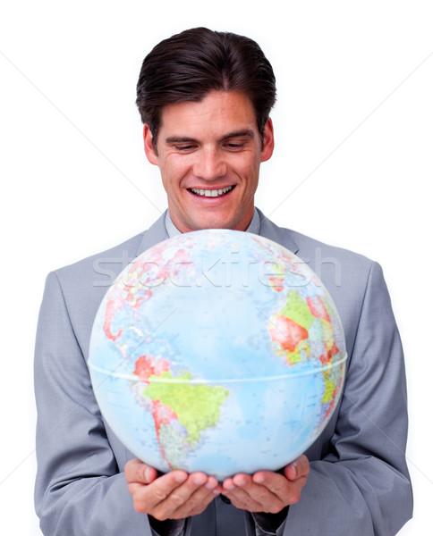 ビジネスマン 笑みを浮かべて グローバルなビジネス 笑顔 インターネット 世界中 ストックフォト © wavebreak_media