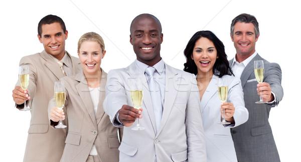 肖像 多文化の ビジネスチーム 飲料 シャンパン 白 ストックフォト © wavebreak_media