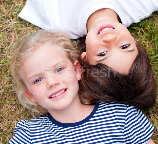 Közelkép aranyos testvérek fű park család Stock fotó © wavebreak_media
