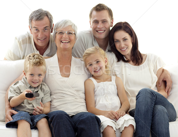 Happy family watching television in living-room Stock photo © wavebreak_media