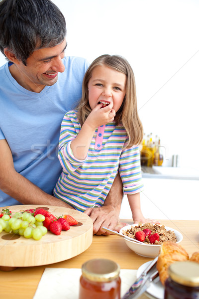 Alegre pai filha café da manhã família saúde Foto stock © wavebreak_media