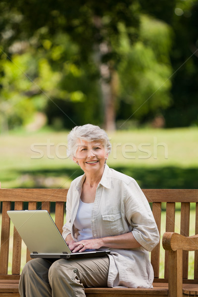 Rijpe vrouw werken laptop bank gras internet Stockfoto © wavebreak_media