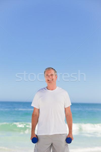 Volwassen man strand man gezondheid persoon lachend Stockfoto © wavebreak_media