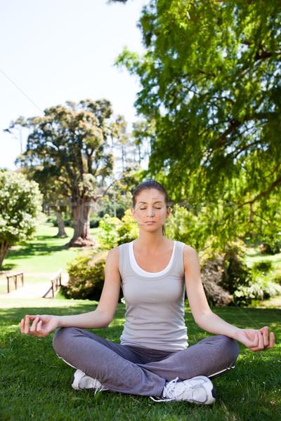Genç kadın yoga park kadın sağlık Stok fotoğraf © wavebreak_media
