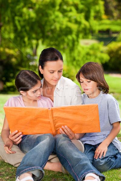 Família olhando álbum foto parque menina Foto stock © wavebreak_media
