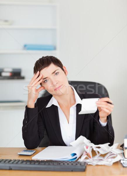 портрет бухгалтер служба женщину бумаги улыбка Сток-фото © wavebreak_media