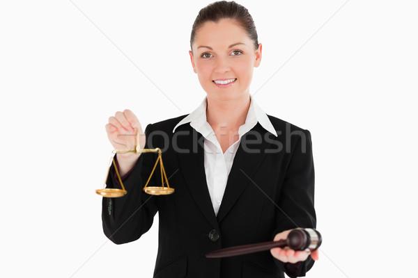 Bela mulher terno balança justiça gabela Foto stock © wavebreak_media