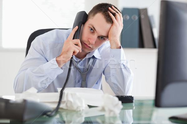 Közelkép lehangolt csalódott üzletember telefon munka Stock fotó © wavebreak_media