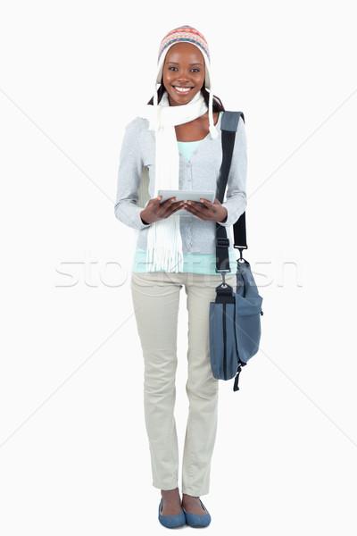 Mosolyog diák sál kalap touchpad fehér Stock fotó © wavebreak_media