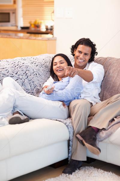 Vrolijk samen televisie home Stockfoto © wavebreak_media