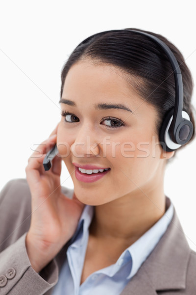 Retrato belo trabalhador de escritório posando fone branco Foto stock © wavebreak_media