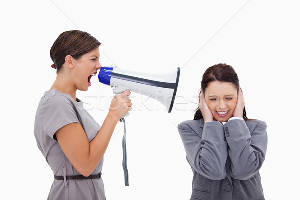 Zdjęcia stock: Kobieta · interesu · kolega · megafon · biały · zdrowia